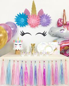 Unicorn Party Decoration Supply Set, Birthday and Baby Shower Party Kit for Girl Party Unicorn, Unicorn Themed Birthday Party, Girls Birthday Party Themes, Girls Party Decorations, Birthday Diy, Baby Shower Decorations, Unicorn Ears, Decoration Party, Unicorn Birthday Decorations
