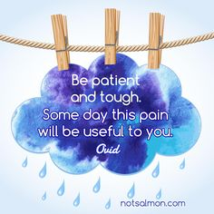 Be patient and tough. Some day this pain will be useful to you. - Ovid (poster created by ) Ovid Quotes, Faith Quotes, Lessons Learned, Life Lessons, Heavy Heart, Learning Quotes, Encouragement Quotes, Positive Thoughts, Coaching