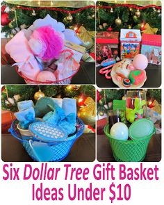 St. Valentine's Cheap Dollar Store Gift Idea: Gift Baskets from Dollar Tree: Spa, Facial, Pedicure / Feet, Kitchen and Lush.