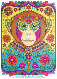 Hippie Chimp Coloring Page From Thaneeya McArdles Animals Book Colored By Tammy Dullnig