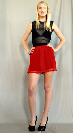 Red Silk Yoryu Skirt and Blouse  by Denise SL Spalk