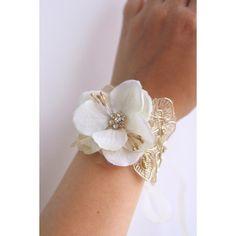 Bridal Flower Wrist Corsage, Wedding Floral Bracelet, Prom Corsage,... ($20) ❤ liked on Polyvore