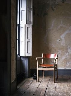 old interior, sash window, shutters, old wooden floors, raw plaster wall. photography by Paul Raeside