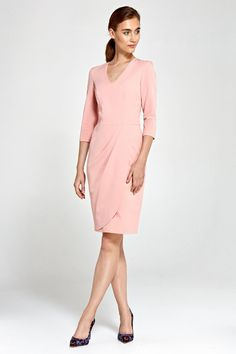 2dd8ca8698f Robe femme rose élégante manches 4 5 décolleté V effet drapé NIFE S91 Jupe  Drapée
