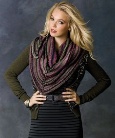 Wear this shawl with the point in the front or in the back, as your occasion or mood requires. This soft roving yarn comes in amazing colors that change as you are knitting.