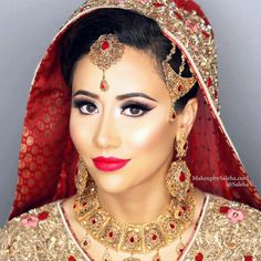 "My pretty bride Samreen  Look at those lashes! They are @salehabeauty 3D lashes in ""Mesmerize"", highlighter I'd ""Hollywood Gold"", & ""Celebrity"" lipstick  #saleha #makeup #mua #makeupartist #bride #bridalmakeup"