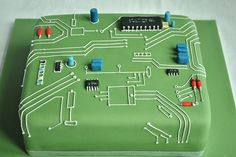 Circuit Board Birthday Cake by thecustomcakeshop, via Flickr. This looks delicious!