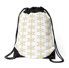 'Golden Glitter Sparkle Snowflake with 12 Double Forked Branches and Center Star' Throw Pillow by podartist Custom Drawstring Bags, Drawstring Backpack, Golden Glitter, Designer Throw Pillows, Branches, Chiffon Tops, Snowflakes, Sparkle, Crystals