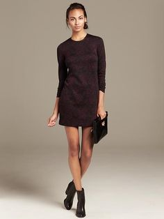 Florals - Crackle-Print Knit Dress by Banana Republic