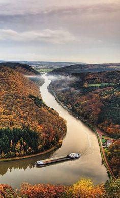 Saar River at Mettlach, Merzig-Wadern, Germany