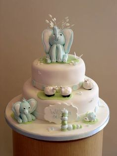 christening-2-tier-blue-elephants and sheep