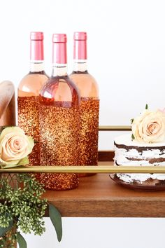 """Rose gold beverage bottles from a """"Rosé All Day"""" Bridal Shower on Kara's Party Ideas   KarasPartyIdeas.com (17)"""