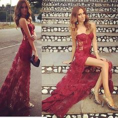 Burgundy Sexy Mermaid Sweetheart Evening Dresses Lace 2017