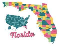 Detailed Map Of Florida Printable Florida Road Map, Map Of Florida Cities, Detailed Map Of Florida, Texas State Map, Florida Oranges, Map Outline, Sunshine State, Panama City Panama, Printables