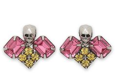 I should try to make something like these.     GOLD Philosophy Skull w/ Crystal Earrings by Joomi Lim