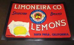 Wholesale Lot of 10 LIMONEIRA CO. Sunkist LEMON Crate LABELS - Santa Paula CA.