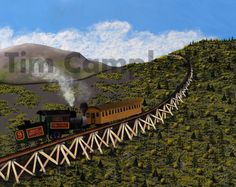 Cog Railway New Hampshire Giclee Print by Tim by TimCampbellArt