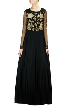 Gold rose embroidered black flared gown BY BHUMIKA SHARMA. Shop now at: www. Black Indian Gown, Indian Gowns, Royal Fashion, Ethnic Fashion, Asian Fashion, Traditional Sarees, Traditional Outfits, Floor Length Gown, Girls Gallery