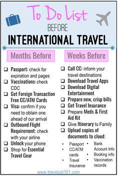International Travel Checklist | Printable Travel Checklist | Travel Tips | International Travel | #infographic #travelchecklist #traveltips Travelling Tips, Packing Tips For Travel, Travel Advice, Travel Essentials, Budget Travel, Travel Hacks, Traveling Abroad Checklist, Packing For Europe, Travel Money