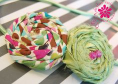 Rosette Style Elastic Headband Spring Green & Pink by skylarraine, $13.00