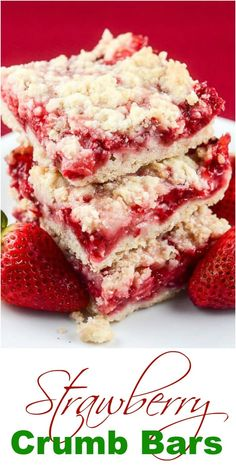 desserts These easy Strawberry Crumb Bars, with a buttery crust, sweet fresh strawberry filling, and crunchy butter crumb topping make wonderful dessert bars for an afternoon snack, or to ta Brownie Desserts, Mini Desserts, Easy Desserts, Delicious Desserts, Yummy Food, Elegant Desserts, Easy Sweets, Summer Picnic Desserts, Recipes For Desserts