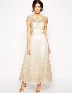 Chi Chi London | Chi Chi London Premium Metallic Lace Prom Dress in Longer Length at ASOS