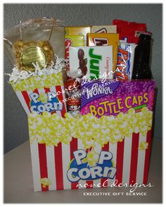 diy movie theme gift basket. add a dvd & or theater gift card, popcorn, snacks, a drink, & congratulations card on winning the ballot poll, if for awards show party.