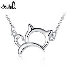 New Arrival Cute & Lucky Platinum Plated Cat Necklaces and Pendants Perfect Polished Women Necklace PN05