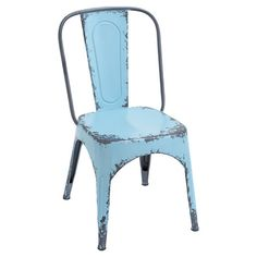 Add A Touch Of Industrial Chic Style To Your Kitchen Or Breakfast Nook With  This Metal Side Chair, Featuring A Weathered Blue Finish And Open Base.