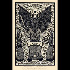 Goat woodcut limited edition Arcanum Bestiarum bestiary print