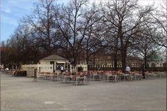 Hofgarten with Biergarten/Beer garden near Odeonsplatz in spring - Munich/ München, Germany/Deutschland