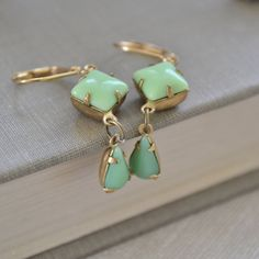 Jadite Green Estate Earrings, Lever Back, Mint Green Glass and Brass, Vintage Glass Earrings via Etsy