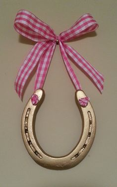 Lucky Horse ShoePink & White Gingham Bow by LuckyPonyShop on Etsy