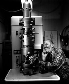 Self portrait of Ansel Adams with path and electron microscope. University of California, San Francisco. April 1965. Photograph by Ansel Adams. Sweeney/Rubin Ansel Adams Fiat Lux Collection.