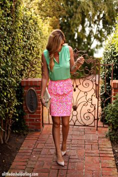 Caitlin from A Little Dash of Darling in Lilly Pulitzer Thyme Skirt in Fiesta Pink Everything Nice Small