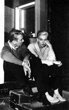 James Stewart and Kim Novak on the set of 'Vertigo', Hitchcock, 1958.
