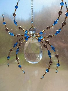 Items similar to Beaded Vintage Crystal Spider - Impressive Spider Sculpture -Capris Blue Dark harbor Sun Catcher on Etsy