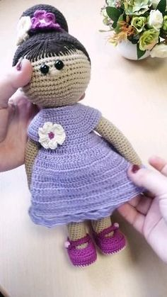 PATTERN Crochet Doll Violet  This is a DIGITAL PATTERN in English (USA termimology) on crochet dolls in pdf format, this is not a finished toy. Knitted Doll Patterns, Knitted Dolls, Crochet Dolls, Crochet Patterns, Double Crochet, Single Crochet, Crochet Bodies, How To Make Magic, Crochet Shoes