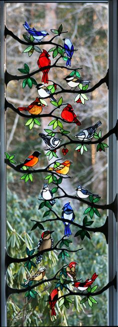 Stained Glass Song Birds on Branches