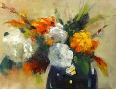 """Floral Fantasy in Orange and White"", 16x12"" - ann feldman"