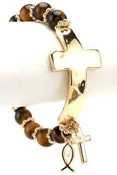 Designer Inspired Cross and Stone Stretch Bracelet, Gold Tone & Tiger Eye Hail Mary Gifts, http://www.amazon.com/dp/B008Z764KU/ref=cm_sw_r_pi_dp_JOGFqb06YRDHB