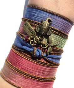 Believe Dragonfly Silk Wrap Bracelet by BohemianEarthDesigns, $29.95