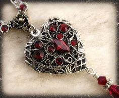 Red crystal heart locket