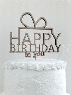 Happy Birthday Cake Topper  Custom Wedding by CakeTopperDesign