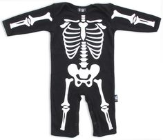 Shop Online for Six Bunnies Black Skeleton Baby Romper Onesie with Free Shipping* in Australia | A black baby one piece with a full skeleton print - a stand-out onesie with a top quality print | We're Australian stockists of punk horror alternative baby