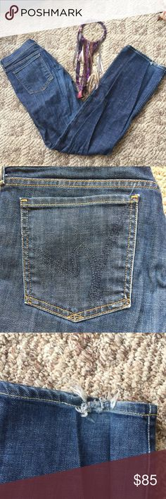 "Boys Old Navy Straight Leg Adjustable Dark Blue Jeans Age 6-7 23/"" Waist"