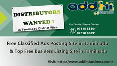Distributors Wanted from Tamilnadu. Addin Business - Top Free Classified Ads Posting Site in Tamilnadu, Tamilnadu Free Business Listing Site, Free Classified Site in Tamilnadu Free Classified Ads, Top Free, Business, Store, Business Illustration