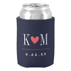 Navy and Coral Modern Wedding Monogram Can Cooler