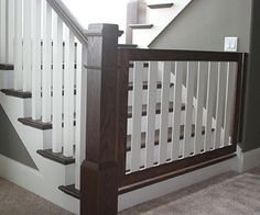 48 new ideas dogs diy projects baby gates Baby Gate For Stairs, Stair Gate, Safety Gates For Stairs, Stair Railing, Banister Baby Gate, Staircase Gate, Top Of Stairs Gate, Deck Gate, Pet Stairs