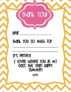 Snatch this set of FREE fill in thank you notes to make end of the year thank yous easier!I don't know about you, but with all of the paperwork and clean up at the end of the school year, I find it very difficult to get thank you notes written in a timely manner.